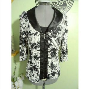 New JS COLLECTION Cardigan Set S Black White tiers